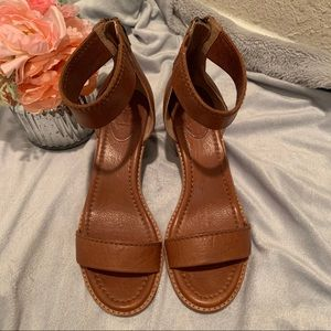 FRYE cognac colored leather stacked heel sandals
